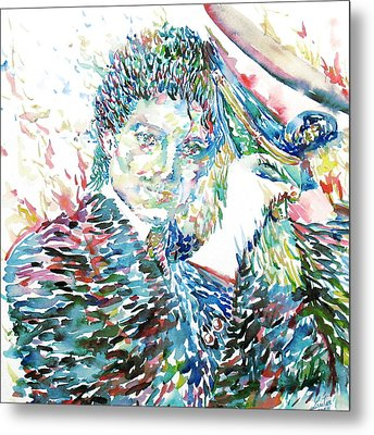Michael Jackson - Watercolor Portrait.3 Metal Print by Fabrizio Cassetta