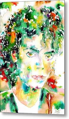 Michael Jackson - Watercolor Portrait.4 Metal Print by Fabrizio Cassetta
