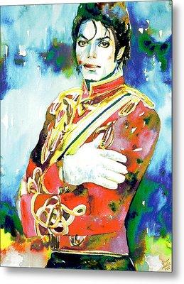 Michael Jackson - Watercolor Portrait.5 Metal Print