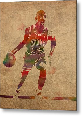 Michael Jordan Chicago Bulls Vintage Basketball Player Watercolor Portrait On Worn Distressed Canvas Metal Print