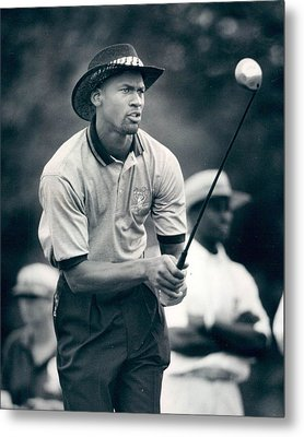 Michael Jordan Looks At Golf Shot Metal Print