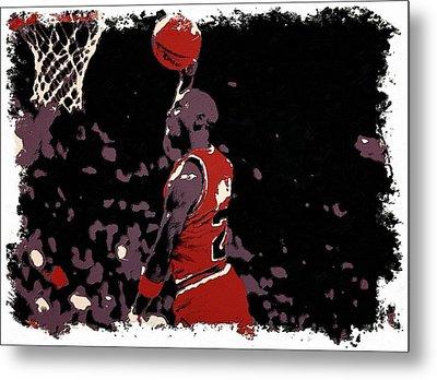 Michael Jordan Poster Art Dunk Metal Print by Florian Rodarte