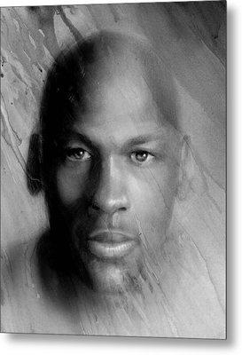Michael Jordan Potrait Metal Print by Angie Villegas
