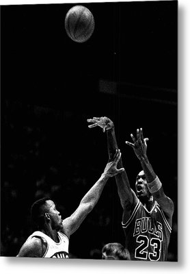 Michael Jordan Shooting Over Another Player Metal Print