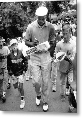 Michael Jordan Signing Autographs Metal Print by Retro Images Archive