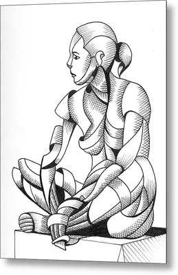 Metal Print featuring the painting Michaela 24-3 - Abstract Nude Figurative Pen And Ink Drawing by Mark Webster