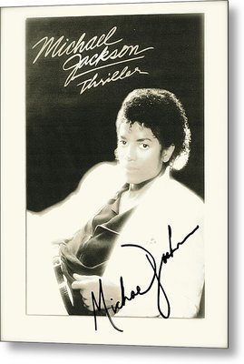 Micheal Jackson Signed Thriller Poster Metal Print by Desiderata Gallery