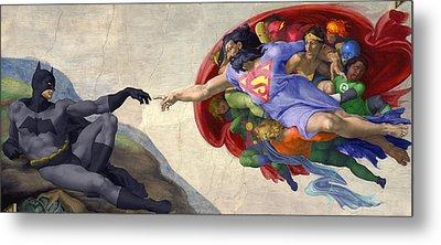Michelangelos Creation Of Batman  Metal Print by Isaac Bluefoot