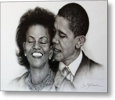 Michelle Et Barack Obama Metal Print by Guillaume Bruno