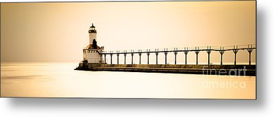 Michigan City Lighthouse At Sunset Panorama Picture Metal Print by Paul Velgos