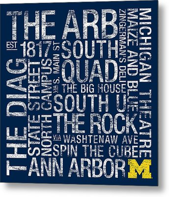 Michigan College Colors Subway Art Metal Print