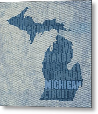 Michigan Great Lake State Word Art On Canvas Metal Print by Design Turnpike