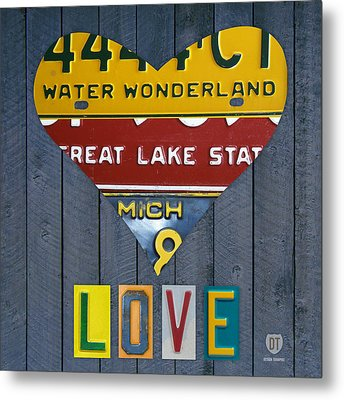 Michigan Love Heart License Plate Art Series On Wood Boards Metal Print by Design Turnpike