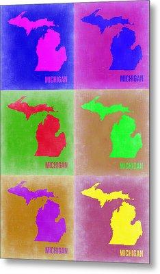 Michigan Pop Art Map 2 Metal Print by Naxart Studio