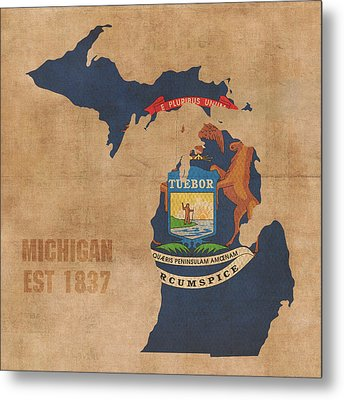Michigan State Flag Map Outline With Founding Date On Worn Parchment Background Metal Print by Design Turnpike