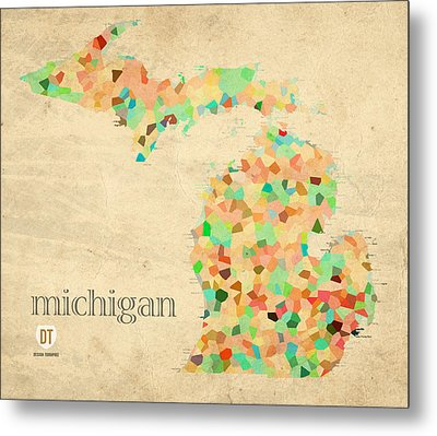 Michigan State Map Crystalized Counties On Worn Canvas By Design Turnpike Metal Print by Design Turnpike