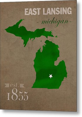 Michigan State University Spartans East Lansing College Town State Map Poster Series No 004 Metal Print