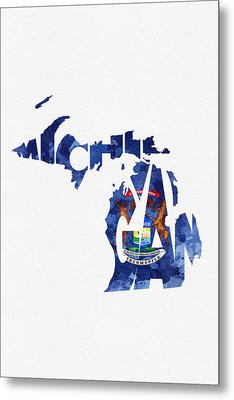 Michigan Typographic Map Flag Metal Print by Ayse Deniz
