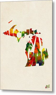 Michigan Typographic Watercolor Map Metal Print by Ayse Deniz