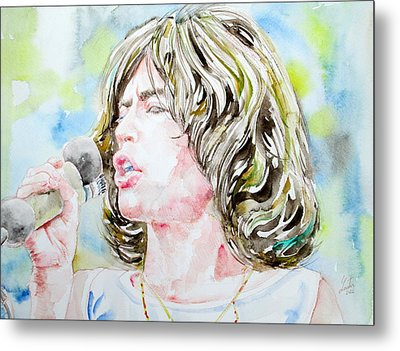 Mick Jagger Singing Watercolor Portrait Metal Print by Fabrizio Cassetta