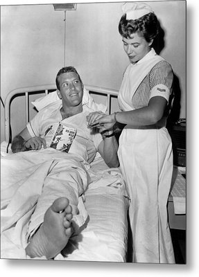 Mickey Mantle In Hospital With Nurse Metal Print by Retro Images Archive