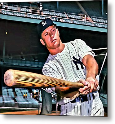 Mickey Mantle Painting Metal Print