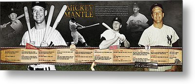 Mickey Mantle Timeline Panoramic Metal Print by Retro Images Archive