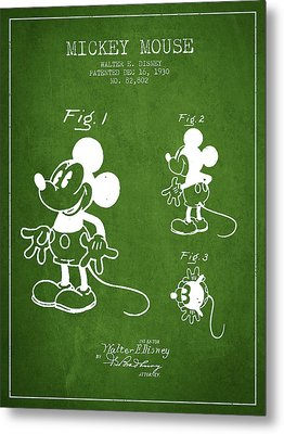 Mickey Mouse Patent Drawing From 1930 - Green Metal Print