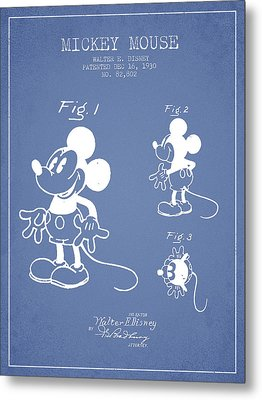 Mickey Mouse Patent Drawing From 1930 - Light Blue Metal Print
