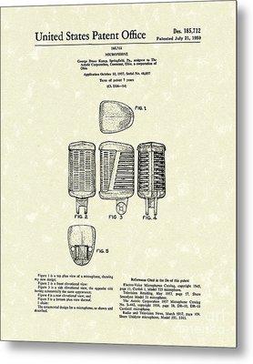 Microphone 1959 Patent Art Metal Print by Prior Art Design