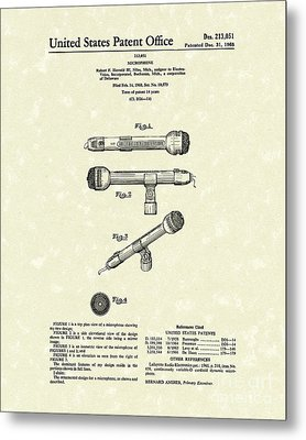 Microphone 1968 Patent Art Metal Print by Prior Art Design