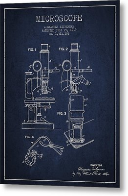 Microscope Patent Drawing From 1919- Navy Blue Metal Print