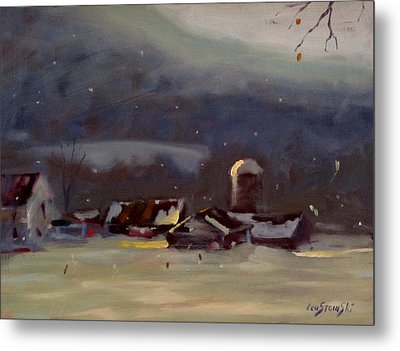 Metal Print featuring the painting Mid Winter by Len Stomski