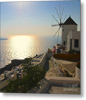 Midday On Santorini Metal Print by Suzanne Oesterling