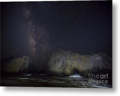 Midnight At Pfeiffer Beach Arch Metal Print by Keith Kapple