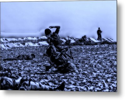 Midnight Battle Men Down Metal Print by Thomas Woolworth