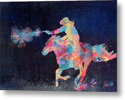 Midnight Cowgirls Ride Heaven Help The Fool Who Did Her Wrong Metal Print by Nikki Marie Smith