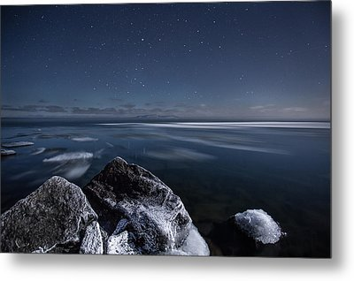 Midnight Freeze At Silver Harbour Metal Print