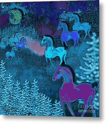 Midnight Horses Metal Print by Carol Jacobs