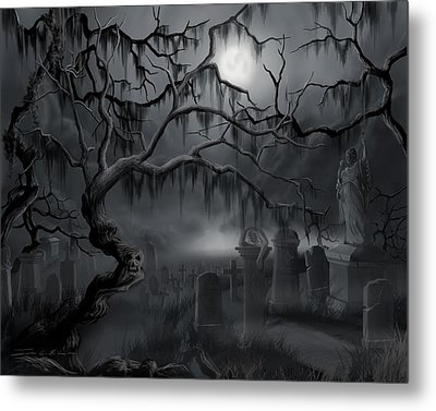 Midnight In The Graveyard  Metal Print by James Christopher Hill