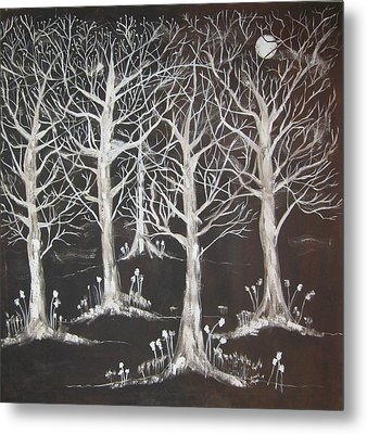 Midnight Mystery Forest Metal Print