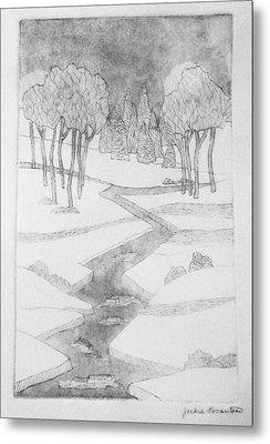 Midnight River Ice Metal Print