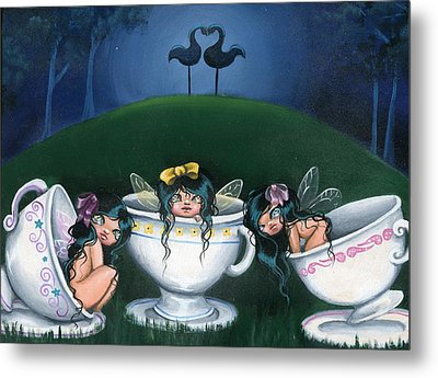 Midnight Tea Party Metal Print by Sour Taffy