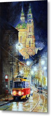Midnight Tram  Prague  Karmelitska Str Metal Print