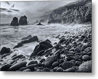 Midnight Waves - Soberanes Point In Garrapata State Park In California Black And White. Metal Print by Jamie Pham