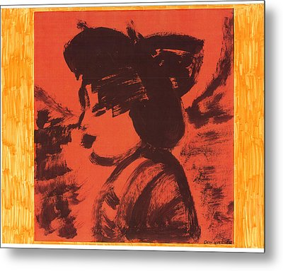 Metal Print featuring the painting Midori The Geisha by Don Koester