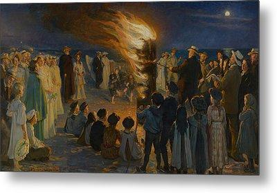 Midsummer Eve Bonfire On Skagen Beach  Metal Print by Celestial Images