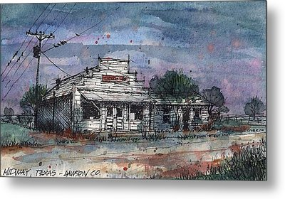 Metal Print featuring the mixed media Midway Texas Grocery by Tim Oliver