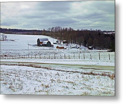 Midwinter On The Farm Metal Print by Christian Mattison