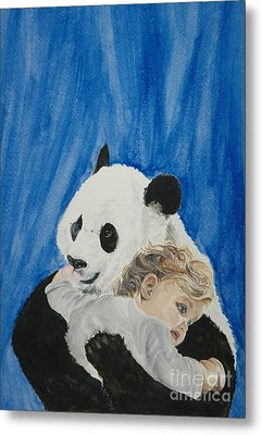 Mika And Panda Metal Print